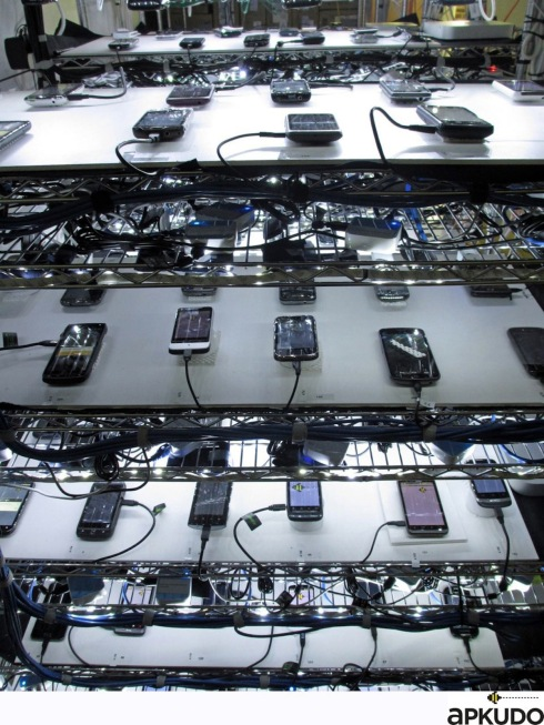 Each rack consists of 6 shelves, each holding up to 12 devices.